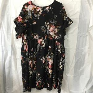 SHEIN Black Floral print Flowy Dress Size 3X